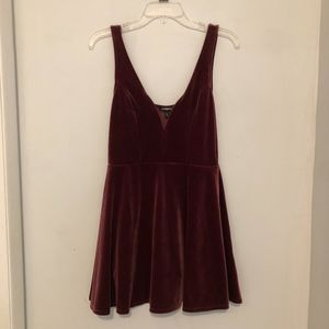 Express Burgundy Velvet Skater Dress Size M
